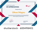 certificate of appreciation... | Shutterstock .eps vector #600498401