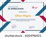 certificate of appreciation... | Shutterstock .eps vector #600498401