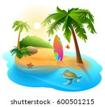palm trees  tropical island and ... | Shutterstock .eps vector #600501215