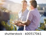 male buddies talking relaxing...   Shutterstock . vector #600517061