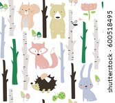 forest seamless background with ... | Shutterstock .eps vector #600518495