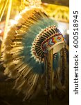 Small photo of Real feather chief inspired replica headdress,Native American style costume hand made war bonnet hat.