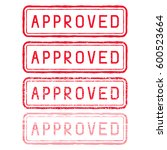 approved stamp. red rectangular ... | Shutterstock .eps vector #600523664