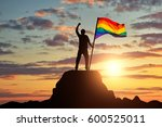silhouette with the gay rainbow ... | Shutterstock . vector #600525011
