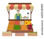 seller of vegetables on the... | Shutterstock .eps vector #600528989
