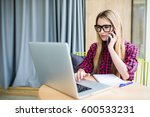 young business woman  phoning... | Shutterstock . vector #600533231