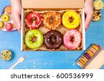 donuts  cupcakes and macaroons. ... | Shutterstock . vector #600536999