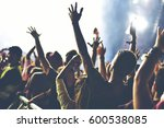 rear view of crowd with arms... | Shutterstock . vector #600538085