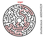 circle maze with solution.... | Shutterstock .eps vector #600544529