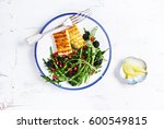 grilled halloumi cheese with...   Shutterstock . vector #600549815