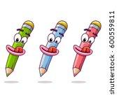 pencils  funny school pencils   Shutterstock .eps vector #600559811