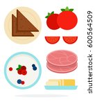 butter in a dish  pudding with... | Shutterstock .eps vector #600564509