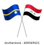 nauruan and iraqi crossed flags....   Shutterstock .eps vector #600569621