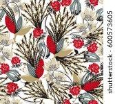 floral seamless pattern. hand... | Shutterstock .eps vector #600573605