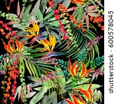 tropical plant seamless pattern.... | Shutterstock . vector #600578045