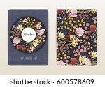 cover design with floral... | Shutterstock .eps vector #600578609