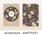 Stock vector cover design with floral pattern hand drawn creative flowers colorful artistic background with 600579257