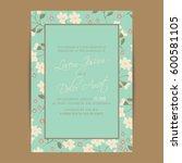 wedding invitation. floral... | Shutterstock .eps vector #600581105