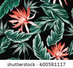 Stock vector tropical flowers jungle leaves bird of paradise flower beautiful seamless vector floral pattern 600581117