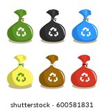 set of recycle plastic garbage... | Shutterstock .eps vector #600581831