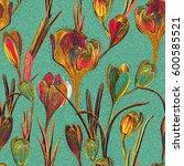 floral seamless pattern.... | Shutterstock .eps vector #600585521