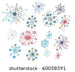 Snowflake Design Elements With...