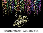 birthday greeting card with... | Shutterstock .eps vector #600589511