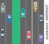 car traffic. two parallel roads.... | Shutterstock .eps vector #600590327