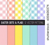 easter colors pixel gingham and ... | Shutterstock .eps vector #600600374