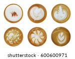 Set Of 6 Top View Of Hot Coffe...