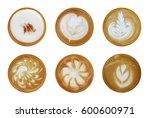 set of 6 top view of hot coffee ...   Shutterstock . vector #600600971