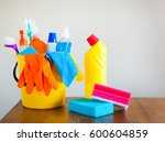 basket with cleaning items on... | Shutterstock . vector #600604859