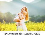 happy family mother and baby... | Shutterstock . vector #600607337