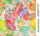 summer exotic floral tropical... | Shutterstock .eps vector #600607757