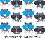 teddy bear pattern vector... | Shutterstock .eps vector #600607919