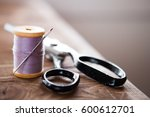 vintage sewing table with... | Shutterstock . vector #600612701