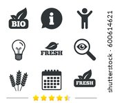 natural fresh bio food icons.... | Shutterstock . vector #600614621