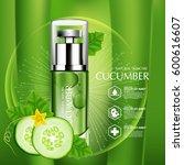 cucumber natural moisture skin... | Shutterstock .eps vector #600616607