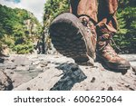 feet trekking boots hiking... | Shutterstock . vector #600625064