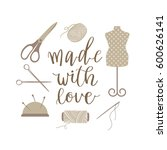 sewing icon set. vintage style... | Shutterstock .eps vector #600626141