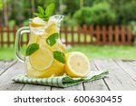 lemonade pitcher with lemon ... | Shutterstock . vector #600630455