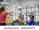 man throwing medicine ball... | Shutterstock . vector #600634079