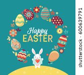 happy easter bright design card.... | Shutterstock .eps vector #600639791
