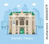 dramatic theatre building on... | Shutterstock .eps vector #600640379