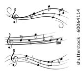 Music notes on staves - stock vector