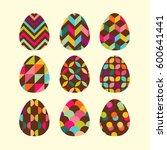 easter set of chocolate egg.... | Shutterstock .eps vector #600641441