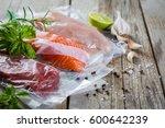beef  chicken and salmon in... | Shutterstock . vector #600642239