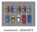 parking car and bike top view.... | Shutterstock . vector #600644075