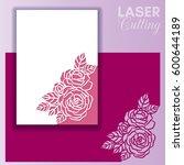 laser cut wedding invitation or ... | Shutterstock .eps vector #600644189