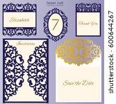 laser cut wedding invitation... | Shutterstock .eps vector #600644267